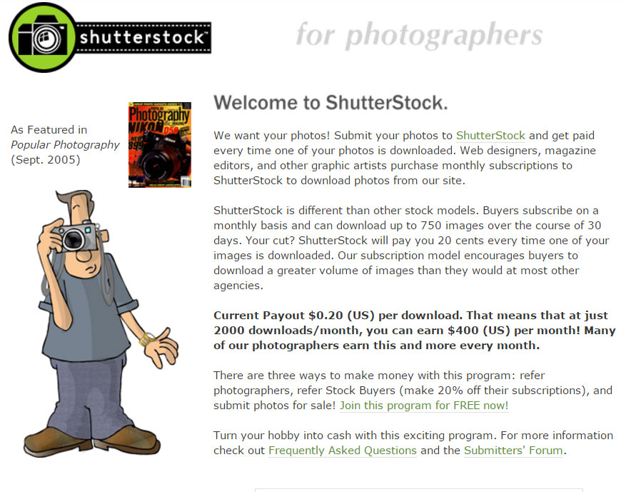 Shutterstock in 2006, appealing to contributors